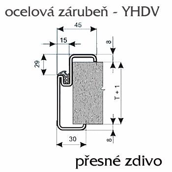 Ocelové zárubně ZAKO pro přesné zdění s těsněním YH-DV