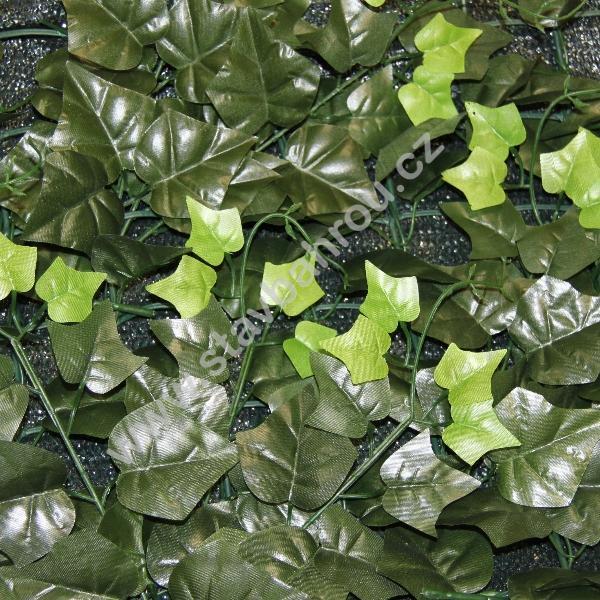 Umělý živý plot Hedera shade - listy břečťanu se stínící sítí výška role 1m
