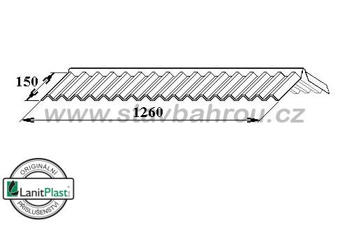 Hřebenáč pro trapéz TR 76/16 polykarbonát dl. 1,26m