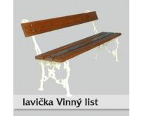 Litinová lavička Vinný list