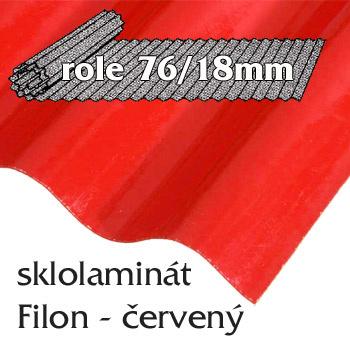 Sklolaminát Filon 76/18 červená - vlnitá role